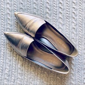 Beautiful Metallic Pointed Toe Leather Loafers
